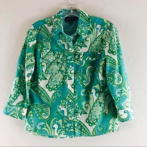 Jones New York Button Down Shirt Paisley Teal PS